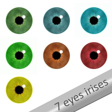 7 realistische ogen irissen op wit Stockfoto