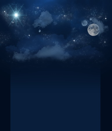heavenly light: Banner set of brilliant star sky with clouds and planets Stock Photo