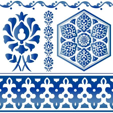arabesque: Vector de elementos de dise�o isl�micos azules sobre fondo blanco Vectores