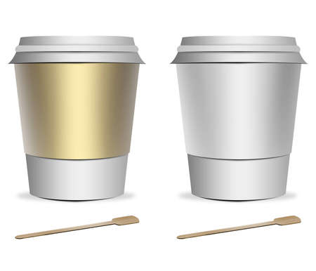 2 plastic coffee cup templates with stirrers over white background photo
