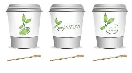 throw away: 3 plastic coffee or tea cups with stirrers over white background