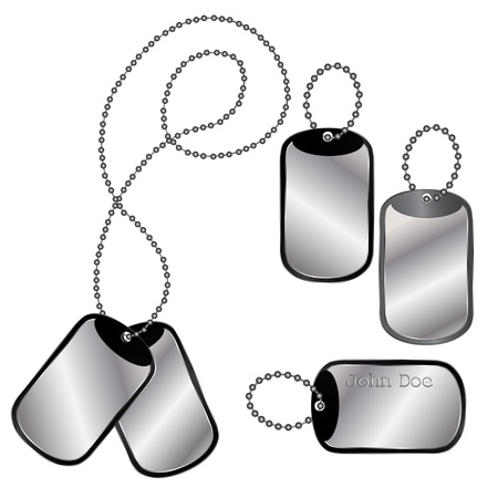Vector of different dog tags on a chain on white