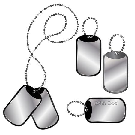 colliers: Vecteur de dog tags diff�rents sur une cha�ne sur fond blanc