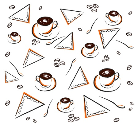 different types: Vector of coffee pattern on white