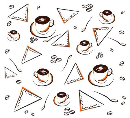 cappucino: Vector van koffie patroon op wit