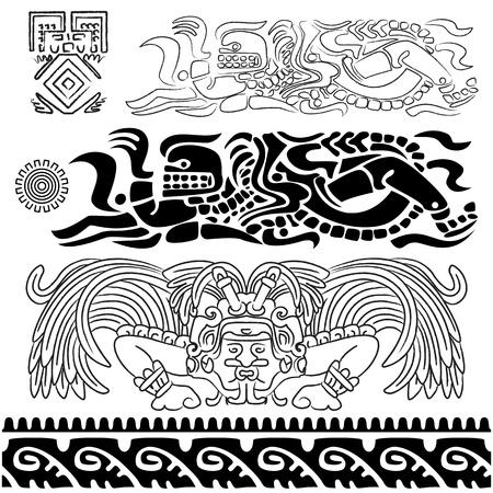 cultura maya: Vector de los patrones antiguos con dioses mayas y los ornamentos