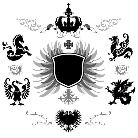 cross and wings: Vecor de Armas con los partidarios de diferentes coronas y adornos medievales
