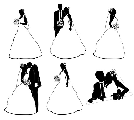 silhouettes wedding pairs in different situations Vector