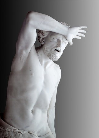 Marble statue of Agony of Cain from Bible. Hermitage in st. Petersburg, Russia Stock Photo