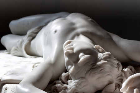 treachery: Marble statue of Abel from Bible. Hermitage in st. Petersburg, Russia Stock Photo