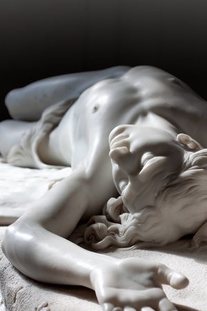 greek statue: Marble statue of Abel from Bible. Hermitage in st. Petersburg, Russia Stock Photo