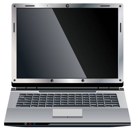 Vector of open laptop on white background Vector