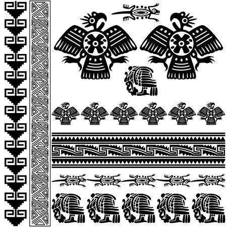 cultura maya: Vector de los antiguos adornos americanos en blanco