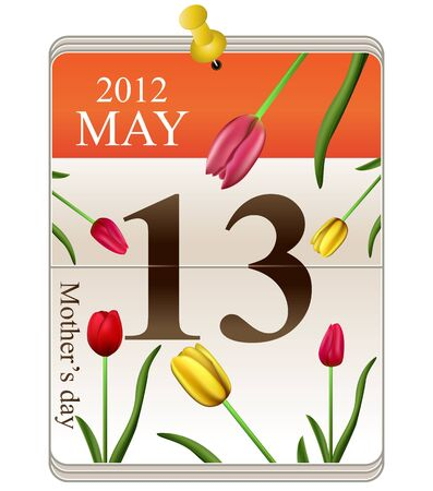 Mothers day for 2012 on calendar with tulips photo