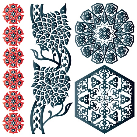 Vector of blue and red Islamic design elements on white