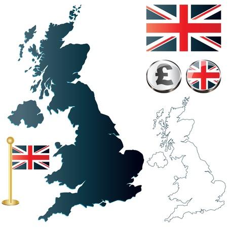 bandera inglaterra: Vector del Reino Unido mapa, bandera de Inglaterra y botones brillantes Vectores