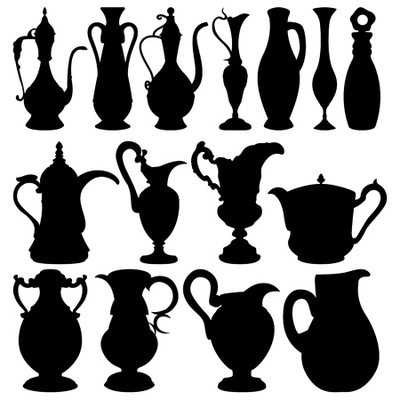 Vector of black jugs collection on white background Stock Vector - 13185274