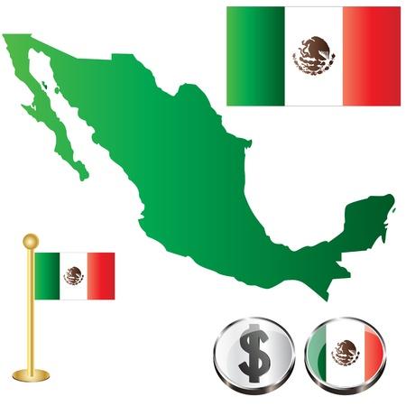 mexican flag: Vettore di Messico Mappa con le bandiere e le icone isolato su sfondo bianco