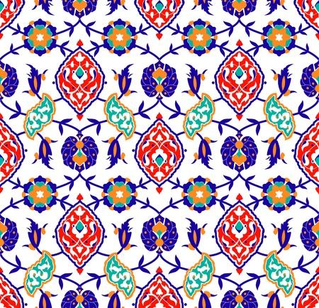 白の伝統的なイスラム花パターンのベクトル