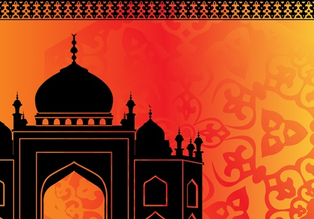 Vector of islamic card with mosque silhouette and ornaments