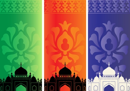 muslim pray: Vector of islamic banners with mosque silhouette and ornaments
