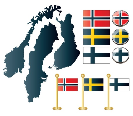 Vector of maps of Norway, Sweden and Finland, and also flags and glossy buttons Vector