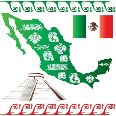 フラグと白い背景で隔離されたマヤのパターンを持つメキシコ マップのベクトル