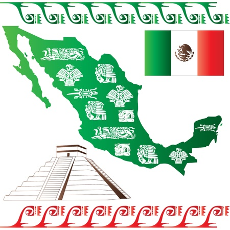 mexico map: Vector of Mexican map with flag and mayan pattern isolated on white background
