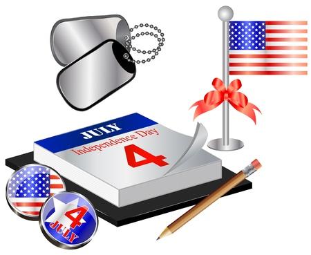 bandera estados unidos: Vector Colección de 04 de julio con las etiquetas del calendario, la bandera y el perro