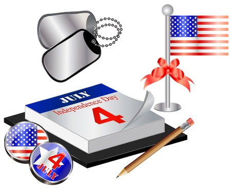 united states flag: Vector Collection for 4th july with calendar, flag and dog tags