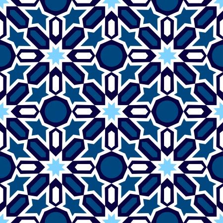 伝統的なイスラム デザイン青と白のモザイク