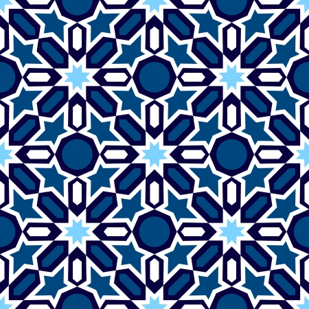 blue and white mosaic in traditional Islamic design Vector