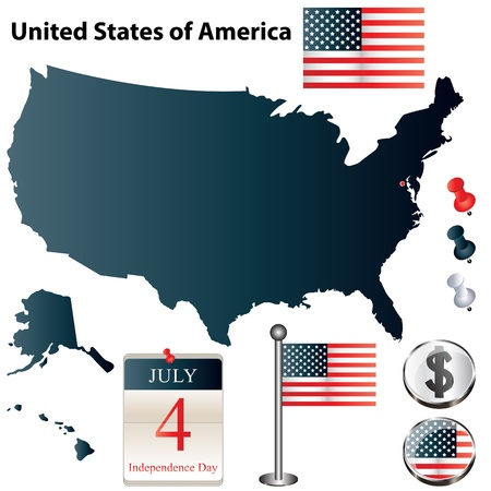 set of USA country shape with flags, calendar and icons isolated on white background Vector