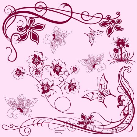 Vector of set of vintage design elements with butterflies for frames Vector