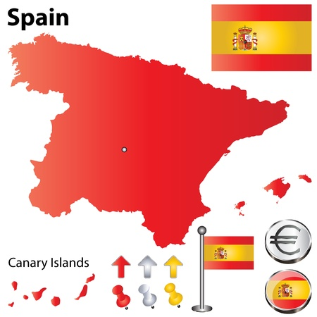 spain flag: Vector set of Spain country shape with flags, calendar and icons isolated on white background
