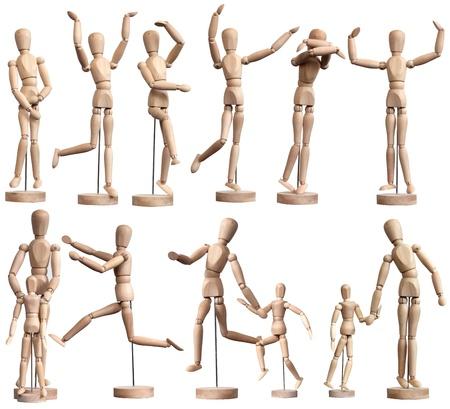 marioneta de madera: Colección de maniquíes de madera en blanco Foto de archivo