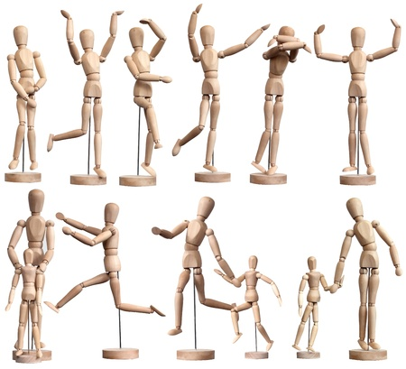 Collection of wooden Mannequins on white Stock Photo