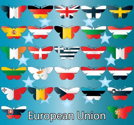 latvia flag: Design of European Union flags in butterflies Illustration