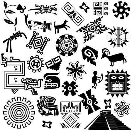 cultura maya: antiguos elementos de diseño americano en blanco Vectores