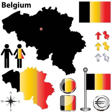 Belgium country shape with flags and icons isolated on white background