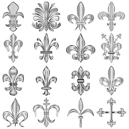 fleur: conjunto de metal de la flor de lis en el blanco