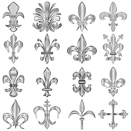 lis: set of metal Fleur-de-lis on white Illustration