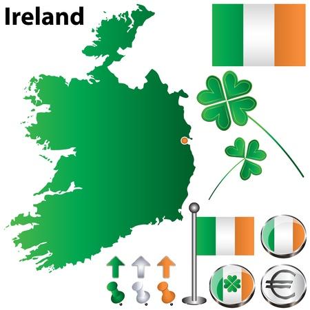 フラグ、ボタンおよび白い背景の上のクローバーとアイルランドの国