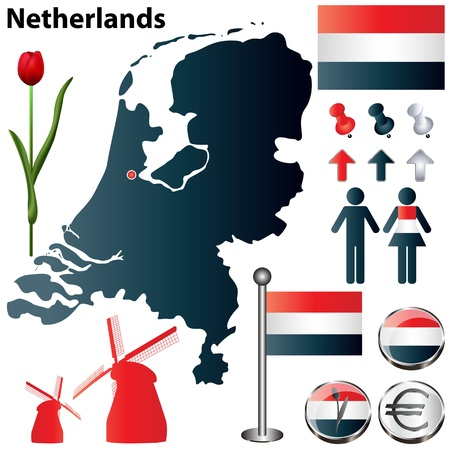 Netherlands country shape with flags, windmills and icons isolated on white background