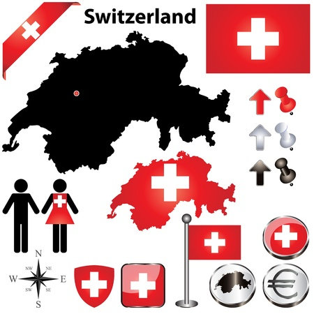 Switzerland country shape with flags, wind rose and icons isolated on white background
