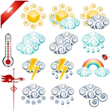 hailstorm: weather icons set with thermometer and Wind vane cock