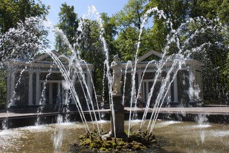 Fountain Adam in park Peterhof. Saint-Petersburg, Russia