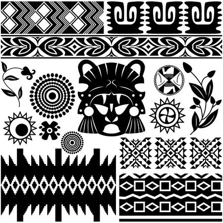 cultura maya: la imagen del patrón de la antigua Americana sobre blanco Vectores