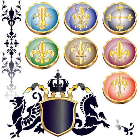 lys:  set of badges with Fleur-de-lis and arms with different supporters Illustration