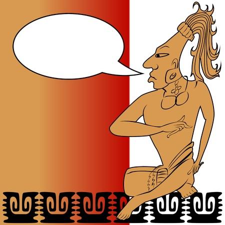 god box:  Mayan warrior and speech bubble